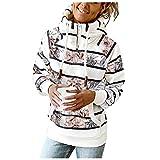 Xmiral Kariertes Kapuzenpullover Gestreiftes Langarm Pullover für Damen Reißverschluss am Hals Oberteil Sweatshirt mit Taschen (g Weiß, L)