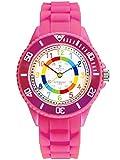 Alienwork Kids Lernuhr Kinderuhr Mädchen Uhrzeit Lernen Rosa Silikon-Armband Mehrfarbig Kinder-Uhr Wasserdicht 5 ATM Zeit L