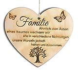 Pet-Jos Familie Herz Schild Dekoschild Herzschild Holzherz Holzschild 10 x 10 cm Geschenk für die Familie Spruch Geschenk Holz Geschenk EIN Geschenk für die F
