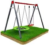 K-Sport 𝐄𝐧𝐝 𝐨𝐟 𝐒𝐮𝐦𝐦𝐞𝐫 𝐒𝐩𝐞𝐜𝐢𝐚𝐥 Metall-Gartenschaukel mit Storchennest & Schaukel für Kinder I Doppelschaukel bis 150kg belastbar I stabile & sichere Outdoor Kinderschauk