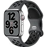 Upeak Armband Kompatibel mit Apple Watch Armband 44mm 42mm 40mm 38mm 41mm 45mm, Atmungsaktiv Silikon Doppelloch Schnappschnalle Band, für iWatch Series 7 6 5 4 3 SE, 42mm/44mm-M/L, Holzkohle/Schw