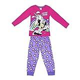 Nuevo Schlafanzug für Mädchen, Minnie Maus, Einhorn, Hose und T-Shirt, Langarm, 100 % Baumwolle, Größen von 3 bis 8 Jahren, offizielles Produkt, fuchsia, 5 J