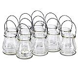 Relaxdays Windlicht aus Glas, 12er Set, runde Glasvase mit Henkel, Tischdeko für Drinnen u. Draußen, 10 cm hoch, klar, S