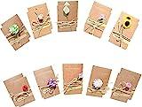 20 Stück Grußkarte,Vintage Postkarten, getrocknete Blumen mit Postkarte, Karten mit Umschlag, handgefertigt, Dankskarten,EinladungskarteRetro-Kraftpapier für Grußk