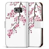 DeinDesign Klapphülle kompatibel mit Samsung Galaxy S6 Edge Handyhülle aus Kunst Leder weiß Flip Case Kirschblüten Jap