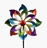 KLP Gartenstecker doppel Windrad Windmühle Metall Blume Windspiel Garten Deko Fig