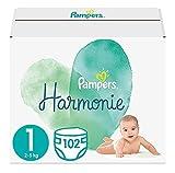 Pampers Baby Windeln Größe 1 (2-5 kg) Harmonie, 102 Stück, HALBMONATSBOX, Sanfter Hautschutz Und Pflanzenbasierte I