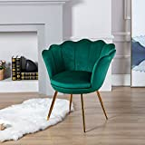 Wahson Sessel für Schlafzimmer Weicher Samt Armlehnstuhl mit Vergoldeten Metallbeinen,Freizeitsessel für Wohnzimmer/Vanity (Grün)