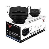URUSANA 50 Stück Medizinische Masken Schwarz OP Masken Schwarz CE Zertifiziert EN14683 TYP IIR BFE ≥ 98% Schwarze Gesichtsmaske Medizinischer Mundschutz schwarz Mund Nasenschutz schw
