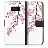 DeinDesign Klapphülle kompatibel mit Samsung Galaxy S8 Plus Duos Handyhülle aus Kunst Leder schwarz Flip Case Kirschblüten Jap