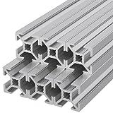 Ulber24 - Aluprofil 20x20 Nut6 Typ B ,6x400mm = 2,40m Aluminium- Konstruktion- Montage- Systemprofil 2020 Alu Schiene Stecksystem Vierkant Profil B-Typ Nut 6 Wink