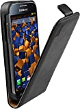 mumbi Echt Leder Flip Case kompatibel mit Samsung Galaxy S4 mini Hülle Leder Tasche Case Wallet, schw