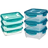 Amazon Basics - Frischhaltedosen-Set, luftdicht, 3-teiliges Set (3x1,2l) & 6pc Airtight Food Storage Containers Set, 3 x 0.8 L
