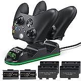 OIVO Xbox Controller Ladestation mit 2-Packs Wiederaufladbaren Akku für Xbox One/Xbox Series X/S, Xbox One Controller Ladestation mit 2x1300mAh Wiederaufladbaren Akku (Xbox Series X & S/Xbox One)