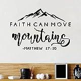 Glaube kann Berge bewegen Bibel-Vers-Vinyl-Wand-Aufkleber Christian Wand-Dekor für Zuhause Auto Laptop Kunst Aufkleber Schlafzimmer Wandtattoo A8 42x30