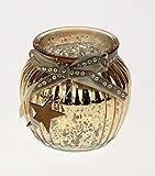 Windlicht aus Glas in Gold Bauernsilber Stil Teelicht Weihnachtsdekoration Weihnachtsgeschenk Geschenk Deko Artikel Glas T