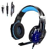 PIPRE Gaming Headset für PS4, PC, Xbox One Controller, Geräuschunterdrückung über Ohrhörer mit Mikrofon, LED-Licht, Bass-Surround, Ohrenschützer mit weichem Sp