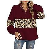 Xmiral Damen Plüsch Pullover Leopardenmuster Verdickung Langarm Reißverschluss Stehkragen Sweatshirt Mantel Oberteil (Rot, XL)