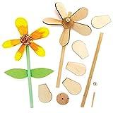 Baker Ross FE575 Blume Windmühle Holz Bastelset - 5er Pack, Windrädchen Basteln für Kinder, Kindergeburtstage oder Kinderg