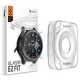 Spigen Glas.tR EZ Fit Schutzglas kompatibel mit Samsung Galaxy Watch 4 Classic 46mm, 2 Stück, Kratzfest, 9H Härte F