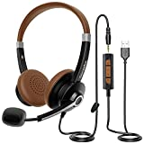 USB Headset mit Mikrofon & Lautstärkeregler, Conambo USB/3.5mm PC Kopfhörer für Call Center Office Telefonkonferenzen Skype SoftPhone Online-Kurse und Musik