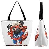Xingruyun Handtasche Damen Held Hundefliege Schultertasche Groß Umhängetasche Shopper Tasche Drucken Henkeltaschen Für Mädchen Frauen 28.5x18x32.5