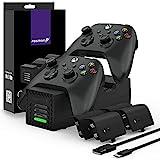 Fosmon Quad PRO 2 Ladestation Kompatibel Mit Xbox Series X/S, Xbox One/One X/One S Elite Controllers, Dual Docking Station + 2 Akku Ladegerät, 4 x 2200mAh Wiederaufladbare Batterie - Schw