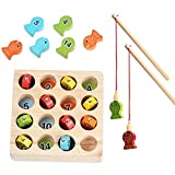Angelspiel Holz ab 2 3 4 Jahre, Motorikspielzeug Fisch Angel Spiel für Kinder, Montessori Motorik Holz Spielzeug Lernspielzeug Holzpuzzle Fische Angeln Geschenk Für Mädchen und Jung