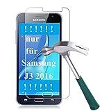 [2er Pack] Panzerglas für Samsung Galaxy J3 2016 gehärtetes Glas 9H, Echtglas Glasfolie Panzerglasfolie Panzerfolie Folie Displayschutz Displayschutzfolie von Smartphone-Equip