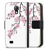 DeinDesign Klapphülle kompatibel mit Samsung Galaxy S4 Mini Handyhülle aus Kunst Leder schwarz Flip Case Kirschblüten Jap