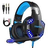 Gaming Headset für PS4 PC Xbox One mit Mikrofon, Over Ear Stereo Sound Gamer Kopfhörer PS4 with Noise Cancelling Mic LED Licht und Game & Chat Lautstärkeregler 3.5mm für Laptop Switch Computer Tab