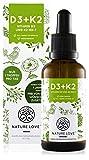 NATURE LOVE® Vitamin D3 + K2 (50ml flüssig) - Hoch bioverfügbar durch Original VitaMK7® 99,7% All-Trans + laborgeprüfte 1000 I.E. Vitamin D3 pro Tropfen - Hochdosiert, in Deutschland p