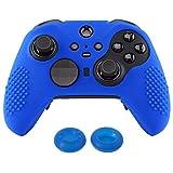 eXtremeRate Schutzhülle Hülle Anti-Rutsch Tasche Silikon Case+2 Thumbstick Kappen für Neuer Xbox One Elite Series 2 Controller(Blau)