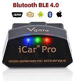 vgate iCar Pro OBD2 Bluetooth 4.0(BLE) Diagnosegerät Auto Automotive Motor Fehlercode-Lesegerät ELM 327 V 2.2 Für Android/IOS-System, kompatibel mit App Torque,OBD Car D