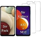 Smartphone Equipment (2er Pack) Panzerglas für Samsung Galaxy A12 / M12 Echt-Hartglas 9H Glasfolie Schutzfolie Glas Folie Panzerfolie Display S
