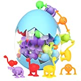 Sauger Spielzeug ab 3 Jahre Kinder Spielzeug mit Dinosauriereier Aufbewahrungs 40 Stück Weiche Silikonbausteine Saugspielzeug mit Tierform für Stressabbau Eltern-Kind Interaktives Sp
