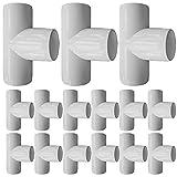 EPHECH 3/4 Zoll T-PVC-Winkelbeschläge, 18 Stück, 3-Wege-PVC-Rohrverschraubung, robuste PVC-Möbel-Verbindungsstücke für Wasservorräte, Bauen von PVC-Möbeln, Heimwerken, Gartenregal, Gew