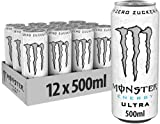 Monster Energy Ultra White, 12x500 ml, Einweg-Dose, Zero Zucker und Z