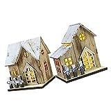 minkissy Holz Weihnachtshaus Beleuchtung Holzhaus Beleuchtet: LED Weihnachtshäuser 2 Stücke Schneehaus Winterhaus Ornament Weihnachtsszene Weihnachtsdeko Zimmer Zuhause Dek