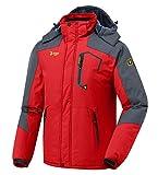 donhobo Herren Winter wasserdichte Winddichte Winterjacke Warme Fleece-Futter Ski Jacken Regenmantel mit Kapuze Rot 2XL
