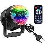 Discokugel, Disco Lights LED Party Lampe Musikgesteuert Disco Lichteffekte DJ Party lichter 360° Rotierende Ball Lights 3W RGB Bühnenlichter mit Fernbedienung für Home Geburtstag KTV W