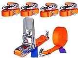 INDUSTRIE PLANET 4 x 800kg 6m Spanngurt mit Ratsche Zurrgurte 25mm orange Ratschengurt Ladungssicherung