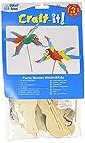 Baker Ross FE128 Papagei Windmühle Holz Bastelset - 3er Pack, Windrädchen Basteln für Kinder, Kindergeburtstage oder Kinderg