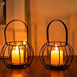 Romadedi Teelichthalter Kerzenständer Metall Schwarz - Oval Kerzenhalter für Teelichter KerzenStumpenkerze 2er Set, Tischdeko Windlicht Glas Innen Außen Modern Deko Hochzeit Wohnzimmer W