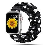 Scrunchie Strap für Apple Watch, Elastisches Nylonarmband Schlaufenband für iWatch Series SE/6/5/4/3/2/1-Schwarz Weißer Punkt,42mm oder 44mm,L (152mm-198mm)