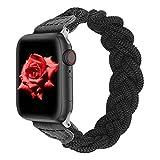 Geflochtenes Nylonarmband für Apple Watch, Damen Dehnbares, gewebtes Gummiband für iWatch Series SE 6 5 4 3 2 1-Schwarz, 42 mm 44 mm, L 6,9-8,1 Z