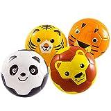 beetoy 4 Stück Softball Kinder Spielball Mini-Fussball für die Kleinsten | Softbälle-Set weicher Füllung Schaumstoffball Tier-Design Ball Klein (Tiger, Löwe, Panda, AFFE)