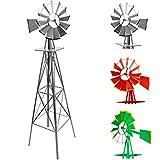 Maxstore Gigantisches Windrad im US-Style aus Stahl, Höhe 245cm, Rotor 55cm, kugelgelagert, Farben Silber, rot, grü