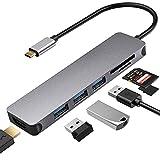 USB C Hub Multiport Adapter – 7-in-1 Tragbarer USB C Adapter mit 4K HDMI Ausgang, 3 USB 3.0 Ports, SD/Micro SD Kartenleser für MacBook Pro, Chromebook, XPS und weitere Typ-C Geräte, Space Grey