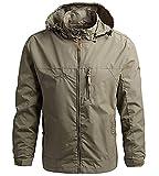 SKYWPOJU Winterjacke Herren Fleece Gefüttert Military Jacke mit Abnehmbarer Kapuze Winter Fliegerjacke Warme Herrenjacke (Color : Brown, Size : L)